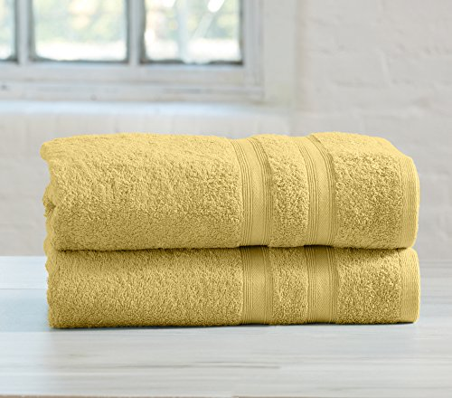 2-Pack Premium 100% Cotton Bath Towel Set (28 x 52 inch) Multipack for Home Spa Pool Gym Use. Quick-Drying and Extra Absorbent. Emelia Collection. (Yellow)