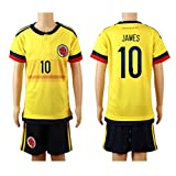 2015/16 Colombia Yellow (Home) #10 James Rodriguez Football Soccer Kids Jersey & Shorts