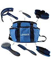 Horse Grooming Kit. 7-Piece. Organizer Tote Bag, Tack Room Supplies Set with Assorted Hair and Curry Brushes, Hoof Pick, Sweat Scraper. Great gift for Horse Riders, Beginners, Advanced. (blue) By Lohkko