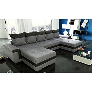 tendencio sofá de Esquina XXL panorámica Gris Negro OPTI U ...