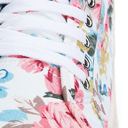 Azzurro Tela Ginnastica 4 Mforshop Sneakers Estive Colorate Donna Scarpe Fiori 770 Zeppa Floreale wIxx7FUqZE