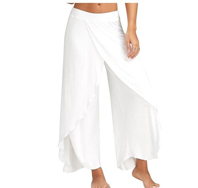 Tenxin Pantalones Casuales de Mujer, Pantalones de Yoga Pantalones de Fitness Ancho de Algodón Super Suave y Transpirable para Sports, Pilates, ...