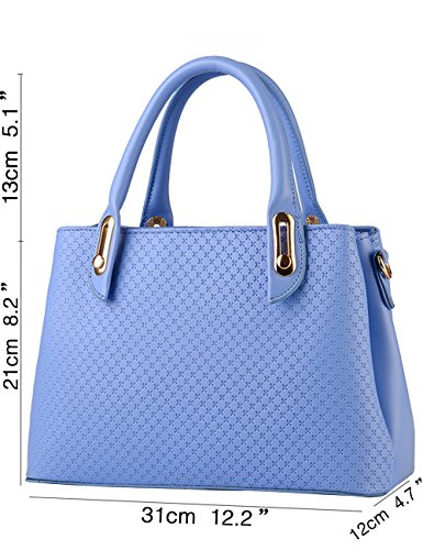 Menschwear Leather Womens Top Satchel blue Purple Sky Bags Handle PU wwPBqrT