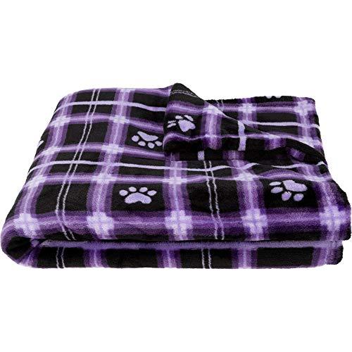 GreaterGood Super Cozy Fleece Paw Print Throw Blanket (Purple Plaid) ()