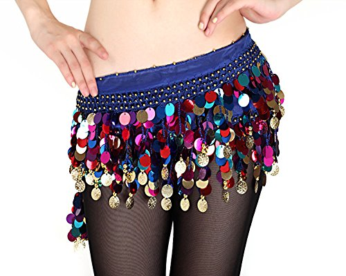 [B&Y Fashion Chiffon Belly Colors Coins Belly Dance Hip Skirt Scarf Wrap Belt (Blue)] (Sexy Bandit With Hat Costumes)