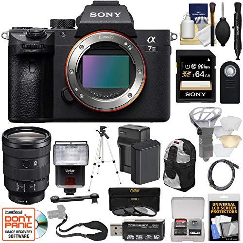Sony Alpha A7 III 4K Digital Camera Body & FE 24-105mm f/4 Lens + 64GB Card + Battery + Backpack + 3 Filters + Flash + Tripod + Kit (Sony Alpha A7 Ii Mirrorless Digital Camera)
