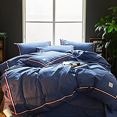 DACHUI Cotton bed sheets - 1800 beds fade, stain resistant - Hypoallergenic - 4 units (color - simple) - A Queen 2