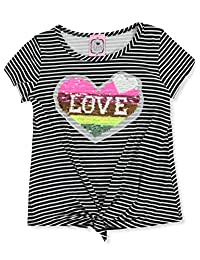 2 Love Tween Girls' Striped 2-Way Sequin Top