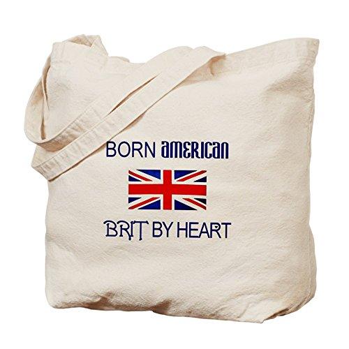 CafePress diseño con texto Born American, British por Hea–Gamuza de bolsa de lona bolsa, bolsa de la compra