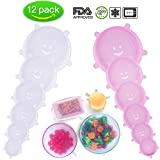 COOFOOD Silicone Stretch Lids 12pcs Silicone Lids, Reusable Durable Eco-Friendly Stretch Covers to Fit Various Sizes Shapes of Containers Blows Cups Keeping Food Fresh Dishwasher Freeze Microwave Safe