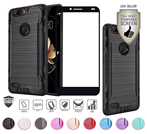ZTE Blade Z MAX Case (MetroPCS Version Only Z982), with Full Edged Tempered Glass Screen Protector, Heavy Duty Metallic Brushed Slim Hybrid Shock Proof Armor Defender Case (Black)
