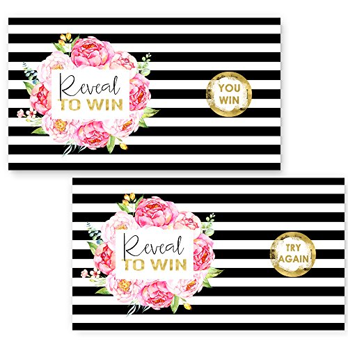 Exotic Floral Scratch Off Game Set of 28 (3 Winners) Black Stripe, Blush Bridal Baby Shower or Party Activity (Game 3 Ticket)