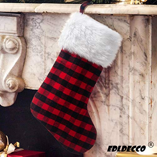 EDLDECCO 20.5 inch Christmas Snowy White Faux Fur Red and Black Plaid...