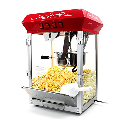 Paramount 8oz Popcorn Maker Machine - New Upgraded Feature-Rich 8 oz Hot Oil Popper [Color: Red]