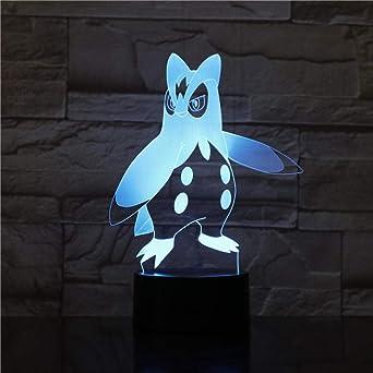 3D Lámpara De Mesa De Luz Nocturna Dormitorio Pokemon Ilusión ...