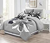 Black and White King Size Comforter 8 - Piece Grey, Gray, Black, White floral Comforter Set KING Size Bedding + Accent Pillows