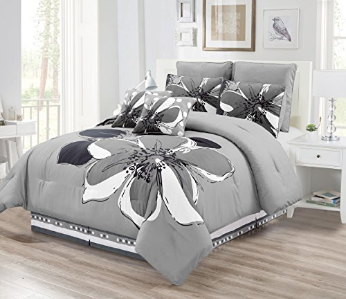 8 - Piece Grey, Gray, Black, White floral Comforter Set KING Size Bedding + Accent Pillows