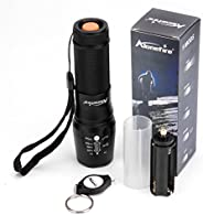 Alonefire LED High Powered Tactical Flashlight Ultra Bright Handheld Torch Adjustable Focus 5 Modes G700 Kit w