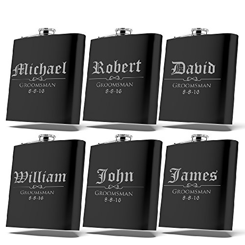 Set of 6, Set of 3, Single - Personalized Flask, Groomsmen Gift, Customized Groomsman Flasks, Wedding Favors, Matte Black, Design 3 (6) by United Craft Supplies