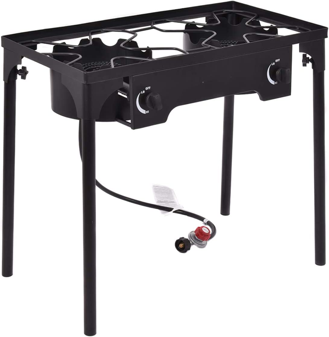 HAPPYGRILL Grill Burners Stove, Outdoor 2-Burner High Pressure Propane Gas Camp Stove