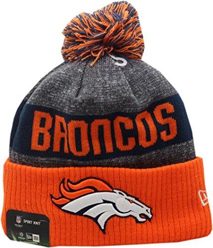 New Era Denver Broncos 2016 Sport Pom Knit Hat On-Field Logo Block 12268