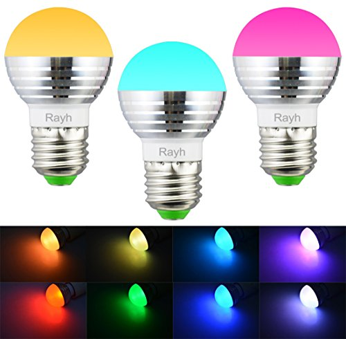 Rayh E26 Colored Light Bulbs 3W Color Changing Light Bulbs With Remote  Control For Home Decoration / Bar ...