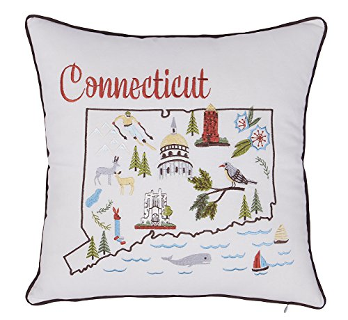(EURASIA DECOR DecorHouzz Pillow Covers State/City Map Pillowcase Embroidered Cushion Cover Birthday Gift Graduation Gift New Home Gift 18