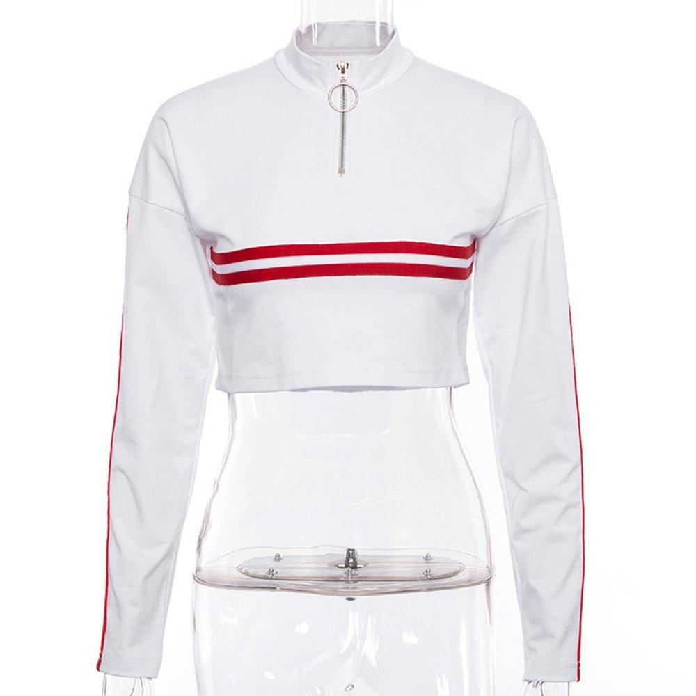 005888ff9c3c0d Amazon.com  HitZoom Women Comfy Half-Zip Stand Collar Striped Crop Tops  Sweatshirts T-Shirt  Clothing