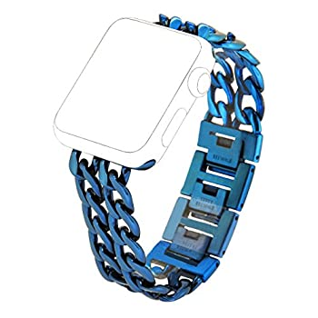 Apple Watch Band, PUGO TOP Stainless Steel Metal Chain Band for Apple Watch Series 2 Series 1 42mm, Blue