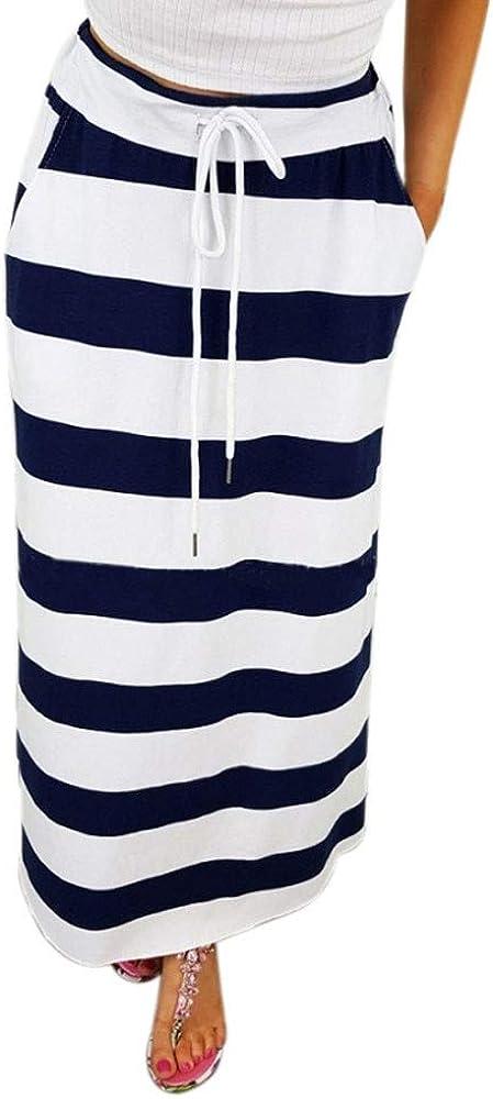 Faldas de Mujer Moda A Rayas Cintura Alta Maxi Falda Larga