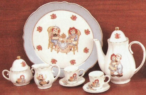 Raggedy Ann & Andy Porcelain Child's Mini Tea Set Miniature Rare Collectible Vintage 8 Pieces ()