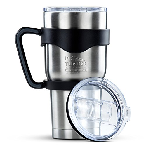 Stainless Steel Travel Tumbler Cup- -30 oz Double Wall Vacuum Insulated Drinking Thermal Mug with Anti-Splash Lid- Keeps Your Beverage Hot or Cold -fit handle. BPA Free.