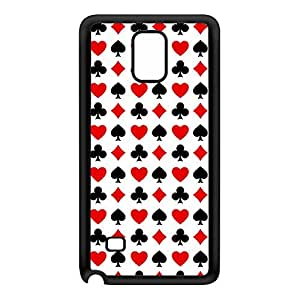 Poker Playing Cards Pattern on White Diamond Heart Club Spade Black Silicon Rubber Case for Galaxy Note 4 by UltraCases + FREE Crystal Clear Screen Protector