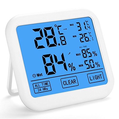 Amoboo Digital Temperature and Humidity Meter Indoor Wireless Thermometer and Hygrometer with Touchscreen and Backlight for Temperature and Humidity Monitoring, Min/Max Records (model-1) by Amoboo
