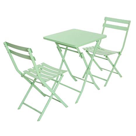 HAOHAODONG Mesa Plegable y sillas al Aire Libre balcón Mesa de ...