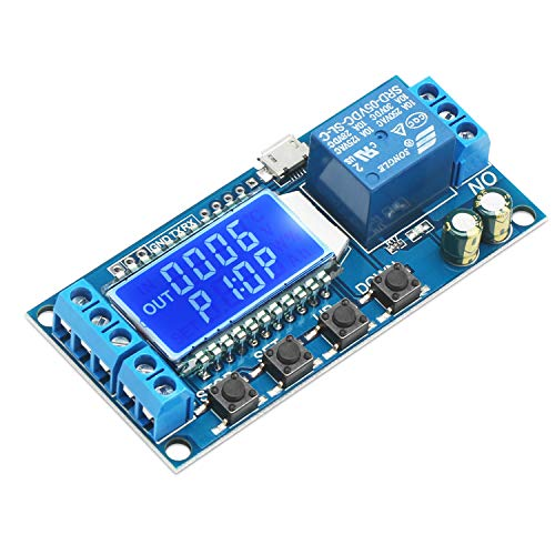 (Timer Relay, DROK Time Delay Relay 5V 12V 24V Delay Controller Board Delay-off Cycle Timer 0.01s-9999mins Trigger Delay Switching Relay Module with LCD Display Support Micro USB 5V Power Supply)