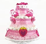 Princess Baby Girl Diaper Cake with Hearts and Flowers