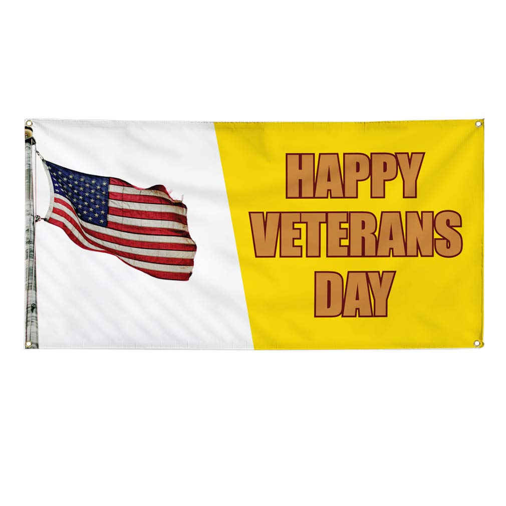 Multiple Sizes Available 8 Grommets 48inx96in One Banner Vinyl Banner Sign Happy Veterans Day #2 Veterans Day Marketing Advertising Yellow
