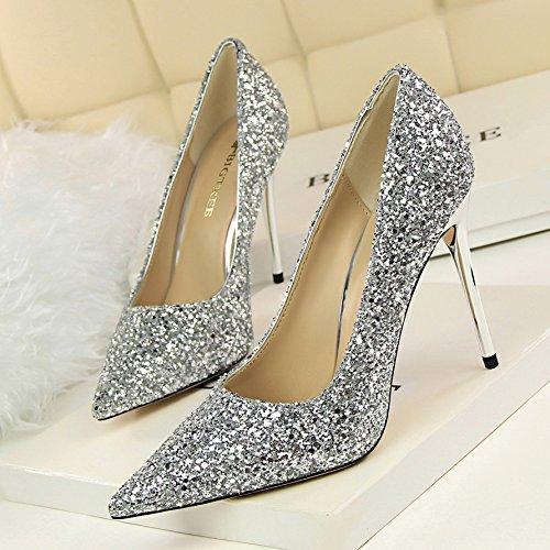 Zapatos Xue bodas de de expuestos Zapatos de zapatos de tac oro Qiqi los plata lado nupcial 5qawCqx4