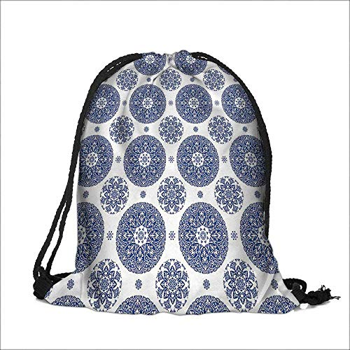 Thick Drawstring Pocket French Country Style Floral Circular Pattern Lace Ornamental Snowflake Design Print Blue White with Drawstring Closure 6.5