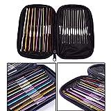 22Pcs Multi-Colour Aluminum Crochet Hook Needle Knit Knitting Sew Tool 0.6-6.5mm