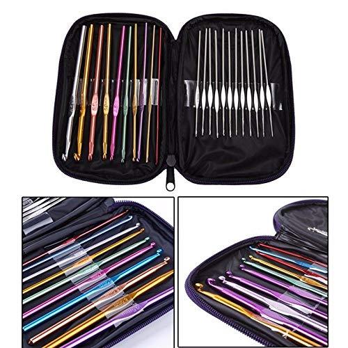 22Pcs Multi-Colour Aluminum Crochet Hook Needle Knit Knitting Sew Tool 0.6-6.5mm by Agordo