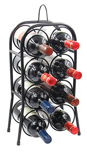 PAG 8-Bottle Metal Wine Rack Free Standing Countertop Wine Holder Shelf for Storage and Display, Black (Wine Metal Bottle)