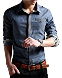 XTAPAN Men's Casual Shirt Long Sleeve Button Down Dress Shirt for Fall Blue 5XL Reviews