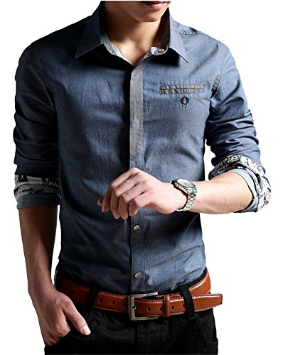 XTAPAN Men's Casual Shirt Long Sleeve Button Down Dress Shirt for Fall Blue 4XL