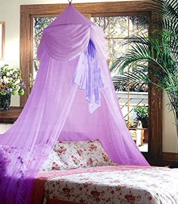 Purple Princess Bed Canopy Decoration with Chiffon Furbelow Mosquito Netting