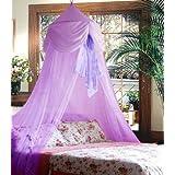 Purple Princess Bed Canopy Decoration with Chiffon Furbelow Mosquito Netting