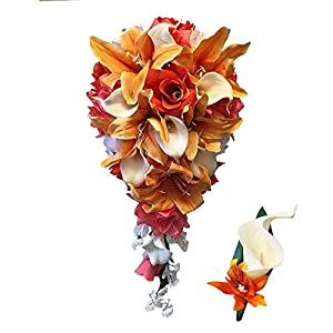 "Angel Isabella Perfect for Fall weddings-Keepsake 20"" Long Cascade bouquet and boutonniere-Shades of Oranges(White ribbon) 1"