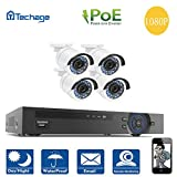 Security Camera System PoE, Techage 8CH 1080P POE NVR + 4CH 1080P IP Cameras CCTV System Indoor Outdoor Waterproof Home Security Surveillance Kit Without Hard Drive