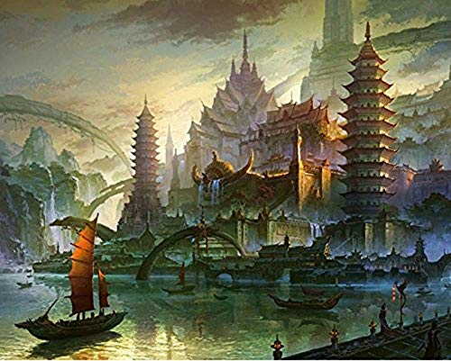 (DIY Oil Paint by Number Kit for Adults Beginner 16x20 Inch - Pagoda Abstract Landscape,Drawing with Brushes Christmas Decor Decorations Gifts (Framed))